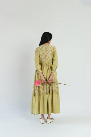 Lime Dot Tiered Handwoven cotton silk Dress