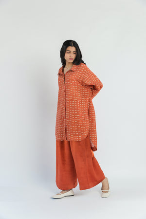 Polka Sungold Handwoven Cotton Silk Shirt