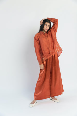 Gusset Shirt handwoven cotton silk Co-ord (Set of 2)