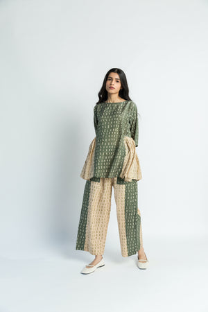 Olive Beige Handwoven Cotton Silk co-ord set (set of 2)