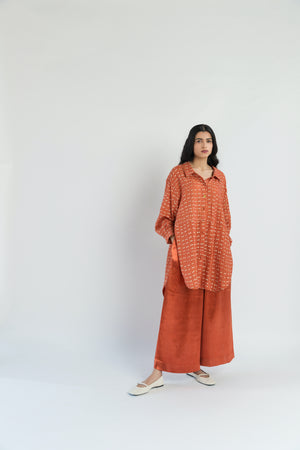 Sungold Polka Handwoven Cotton Silk Co-ord Set (Set of 2)