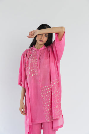 Gathered Polka Pink Handwoven Cotton Silk Tunic Set (Set of 2)