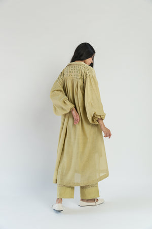 Handwoven Silk Chander Lime Co-ord Set (Set of 3)