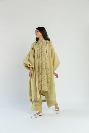 Lime Handwoven Silk Chanderi Tunic Overlay