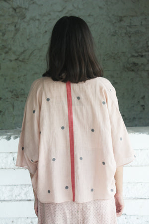 Pink Handwoven Cotton Jamdani Cover Up