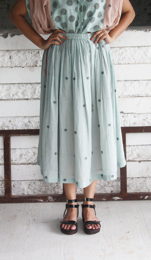 Green Handwoven Cotton Jamdani Skirt