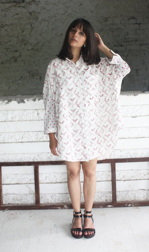 Pink Grey Boxy Handwoven Cotton Shirt