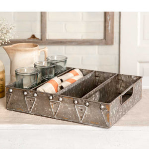 Galvanized utensil tray