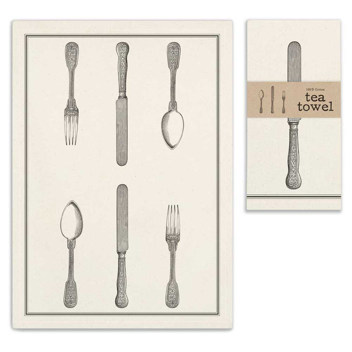 Silverware set tea towel