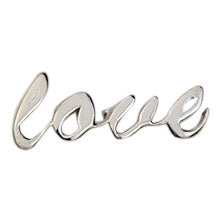 silver love script earring, front view