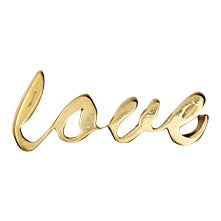gold love script earring, front view