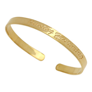 "gold script cuff bracelet, inscribed with ""trusting His timing"""