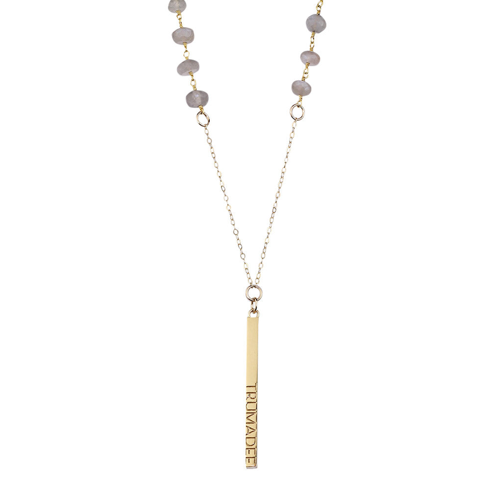 Gold beaded necklace with grey moonstones