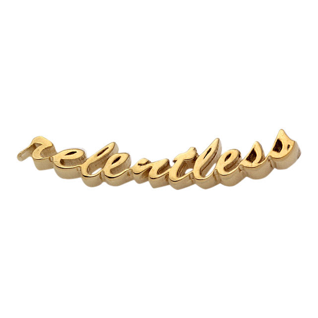 gold relentless script earring crawler front view