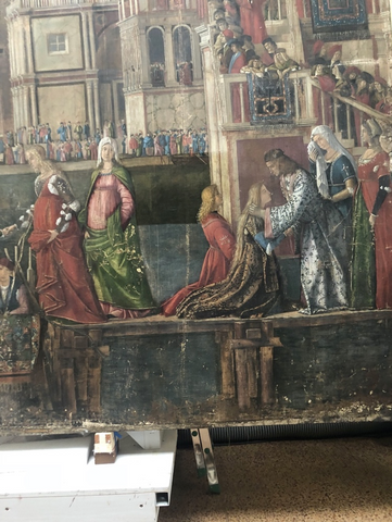 Detail of painting during restoration of St Ursula Cycle, Accademia, Venice, 4/27/2018