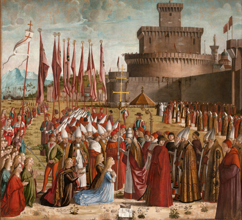 Meeting of Pope Cyriacus and the Pilgrims, after conservation Tempera and oil on canvas, 305cm x 279cm, Save Venice website