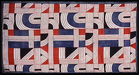 """Dress Fabric, """"Romulus"""", 1928, Designed by Maria Likarz-Strauss; Silk, plain weave, screen printed; 49.3 x 95.3cm (19 3/8 x 37 ½ in); Produced by the Wiener Werkstätte, Vienna, Art Institute of Chicago"""