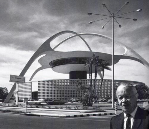 Paul Williams in front of the Theme Building at LAX Airport