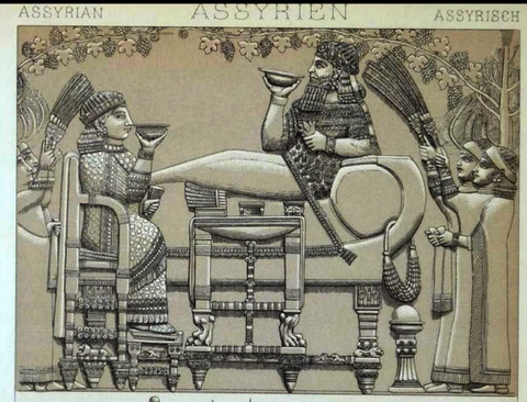 Illustration from the tablet of King Assurbanipal banqueting