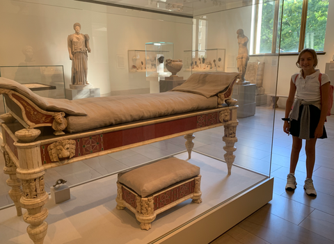 Roman Couch and Footstool (with 12-year-old daughter for scale)