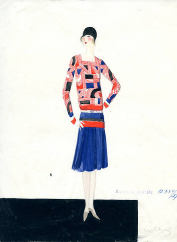 Design Drawing for Textile, 1928, Designed by Maria Likarz-Strauss, graphite pencil, paper, watercolor, H 29.5cm, W 23cm; Produced by the Wiener Werkstätte, Vienna, Museum of Applied Arts, Vienna, Austria