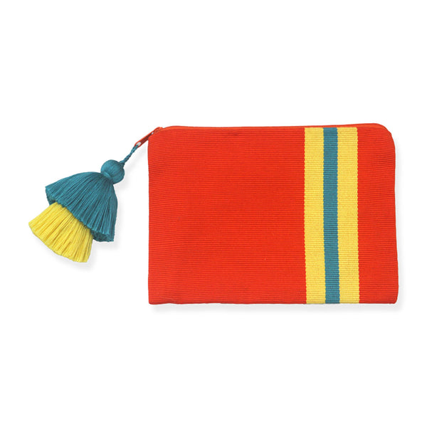 Pais Textil Orange Striped Pima Cotton Pouch