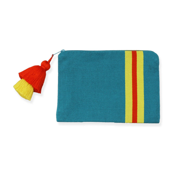 Pais Textil Turquoise Striped Pima Cotton Pouch