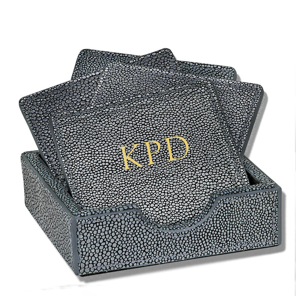 Leather Rectangle Shagreen Coasters