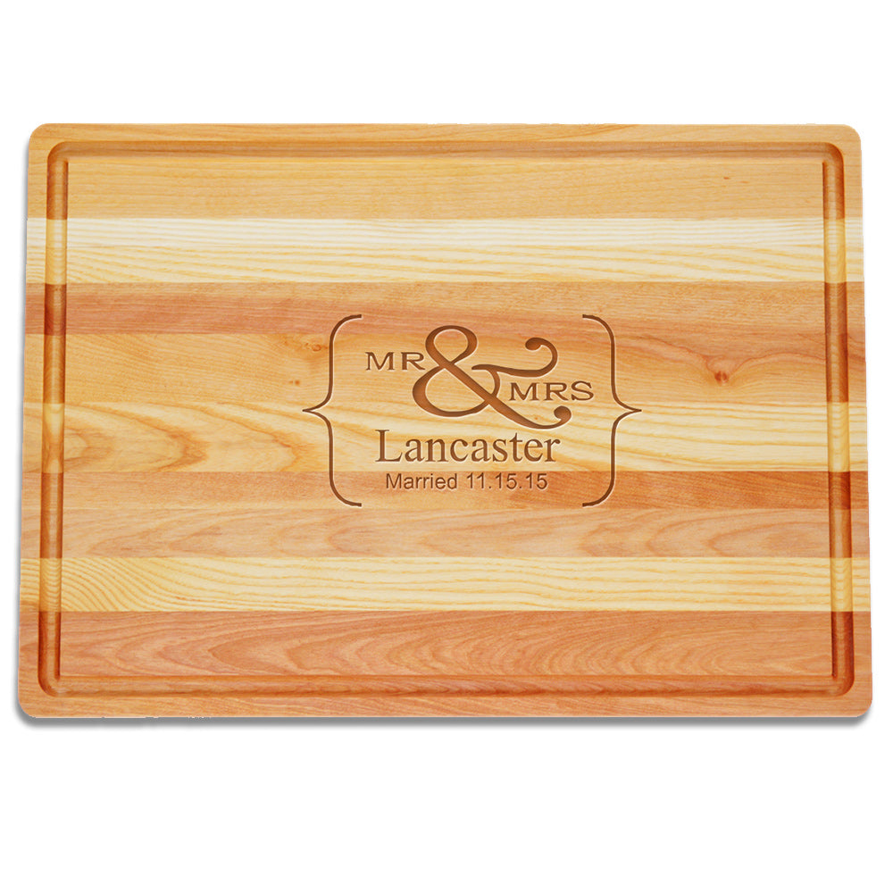 """Mr and Mrs"" Large Wooden Cutting Board"