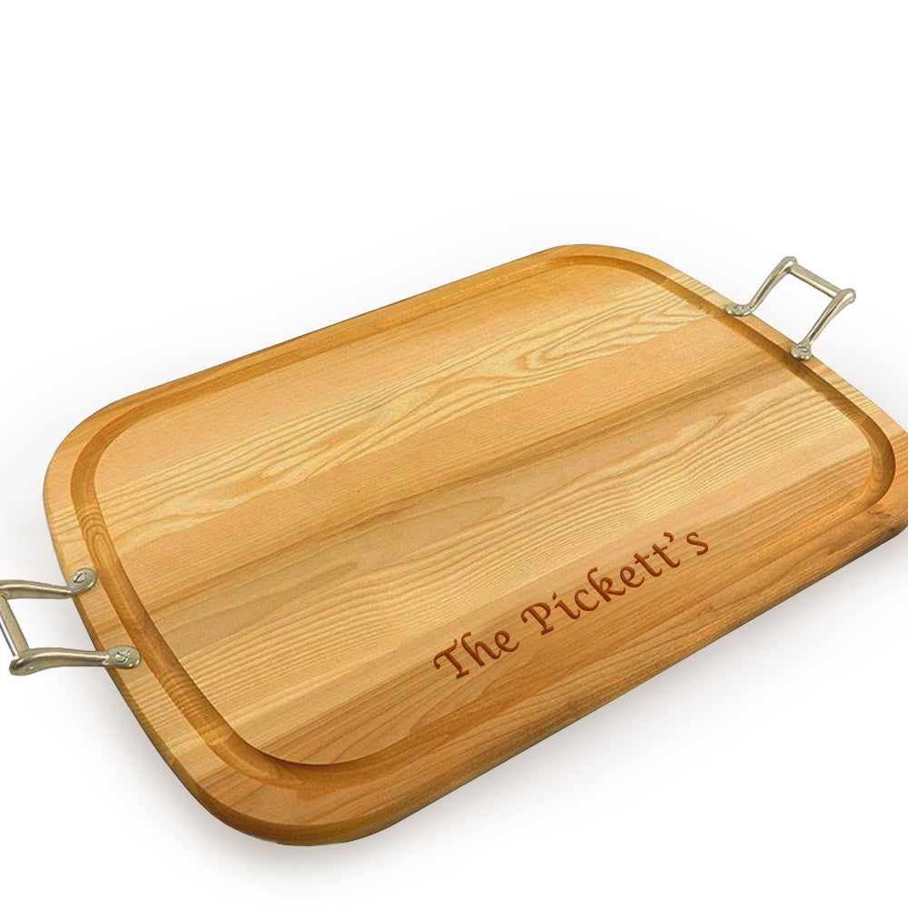 Large Wooden Artisan Tray with Handles