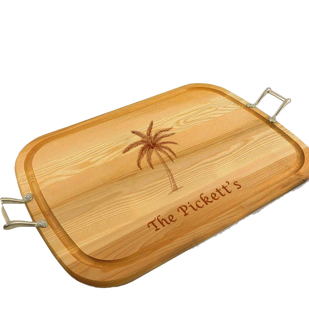 Palm Tree Wooden Artisan Tray with Handles