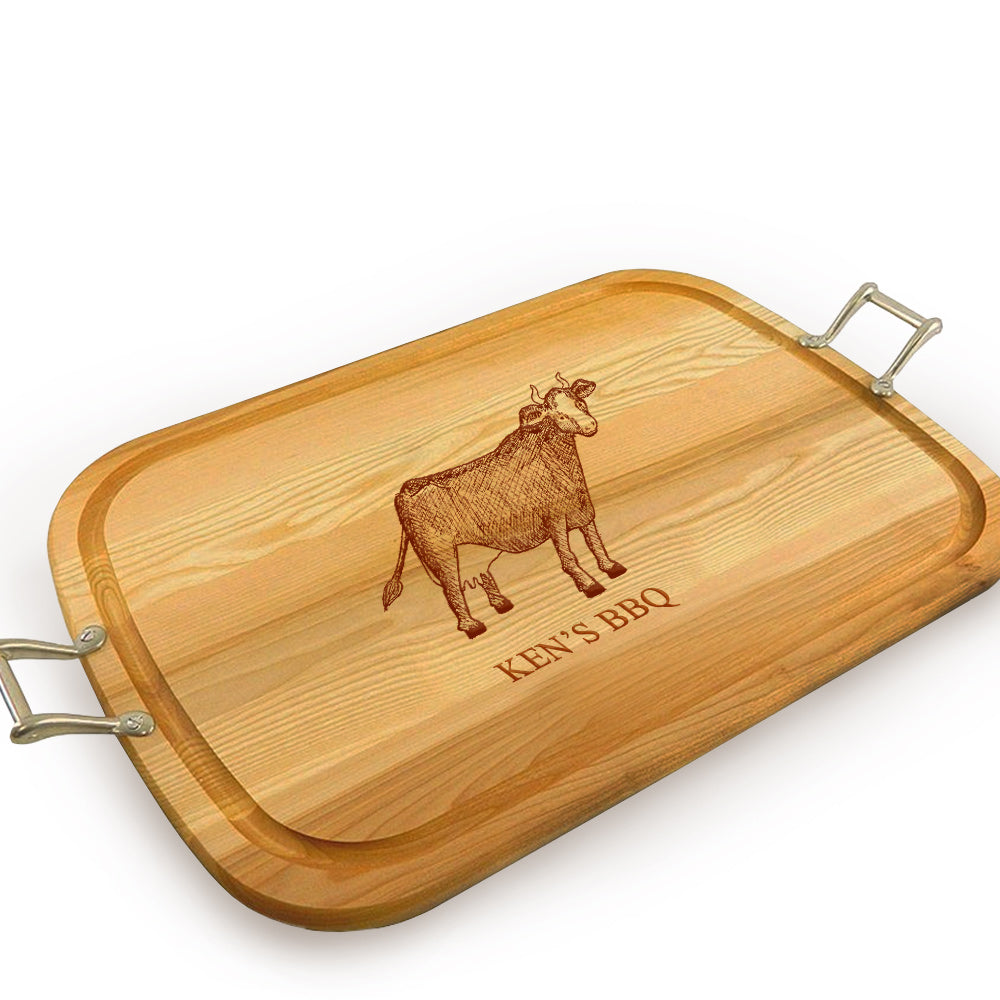 Cow Wooden Artisan Tray with Handles