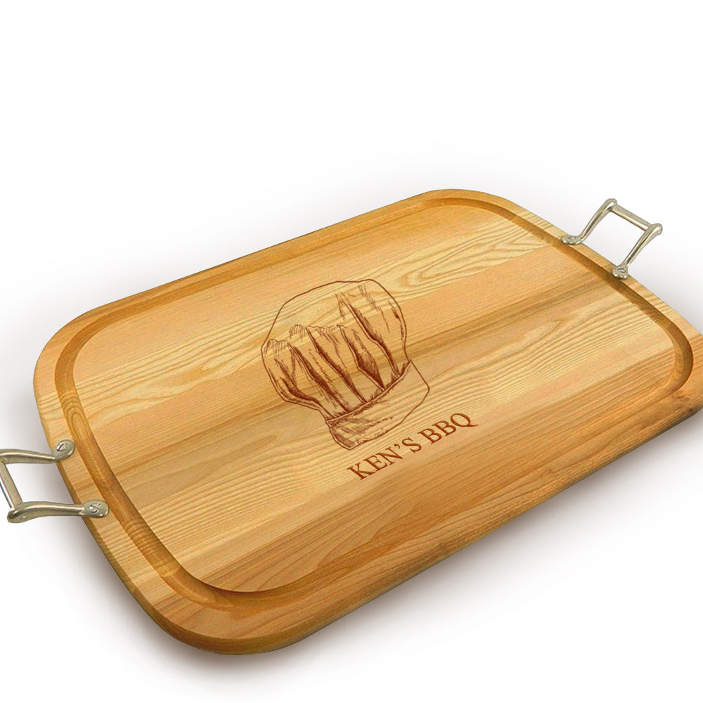 Chef Hat Wooden Artisan Tray with Handle
