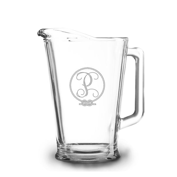 Rope 60 oz Etched Glass Pitcher
