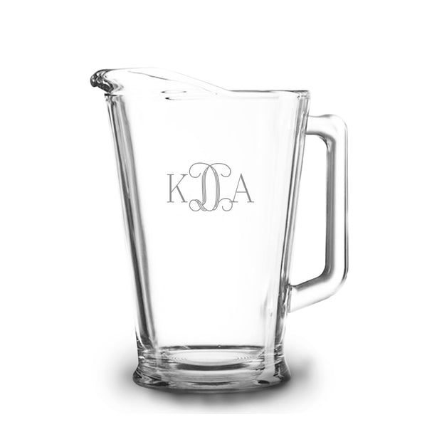 Vine Monogram 60 oz Etched Glass Pitcher