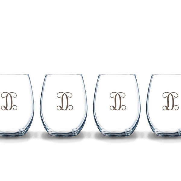 Stemless Etched Glass Wine Tumblers