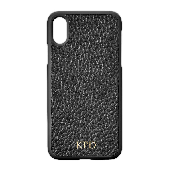 Black Pebble Leather iPhone Case