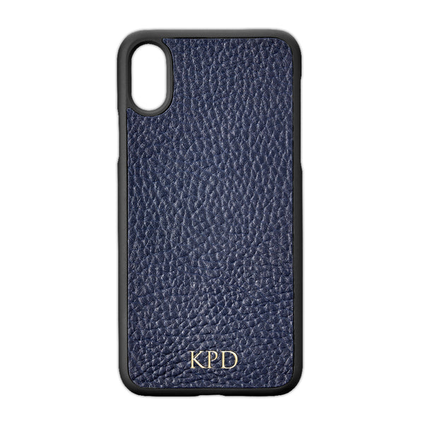 Blue Pebble Leather iPhone Case
