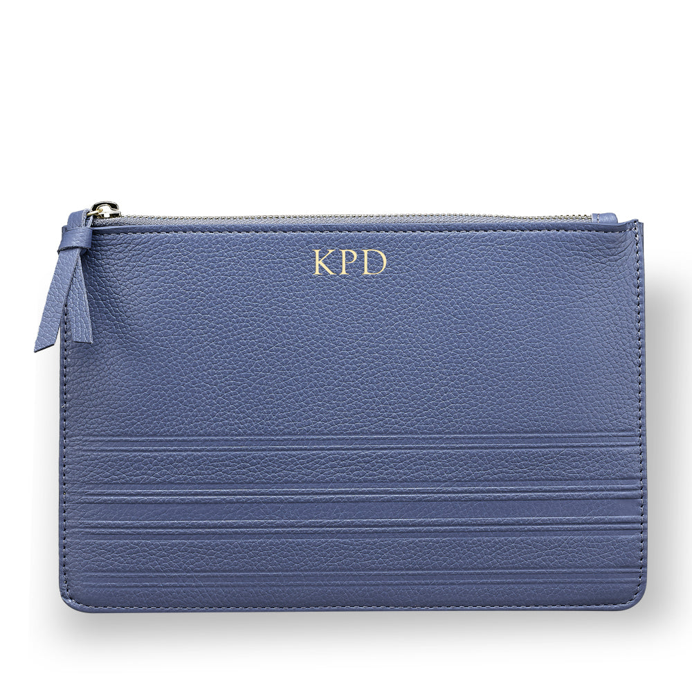 Cornflower Leather Clutch