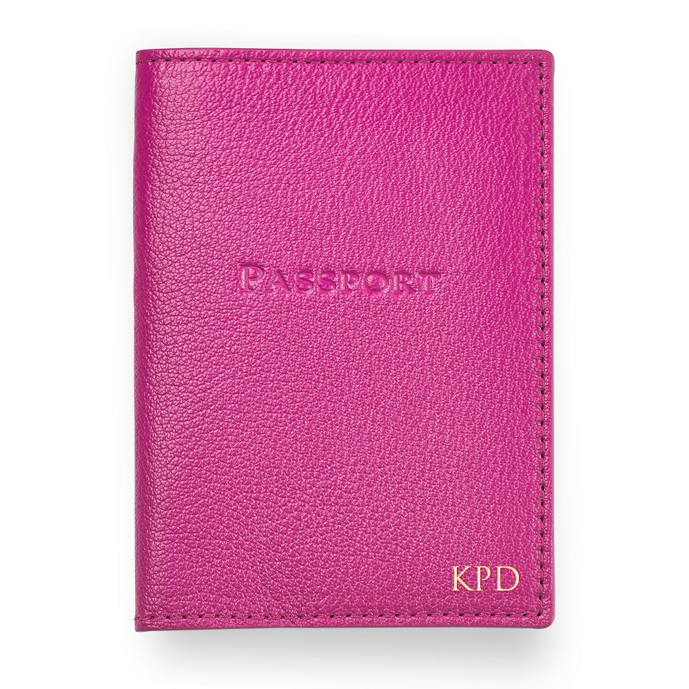 Pink Leather Passport Cover