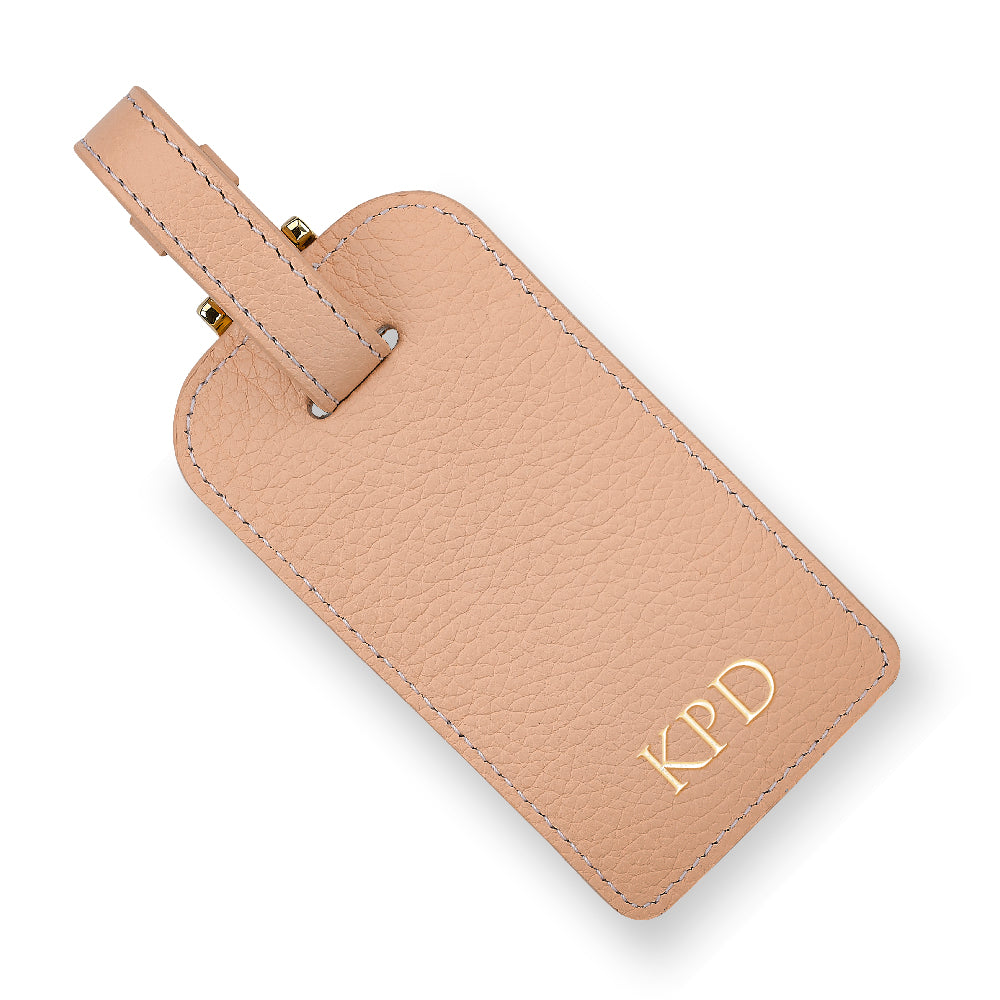 Blush Leather Luggage Tag