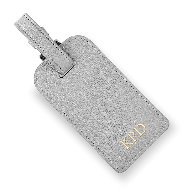 Gray Leather Luggage Tag