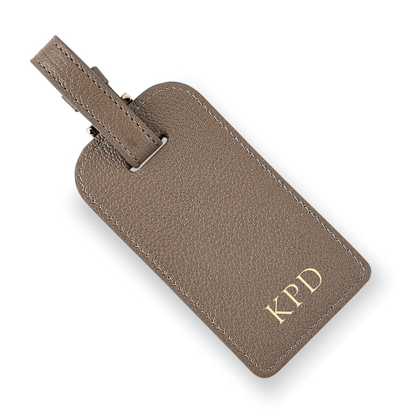 Taupe Leather Luggage Tag