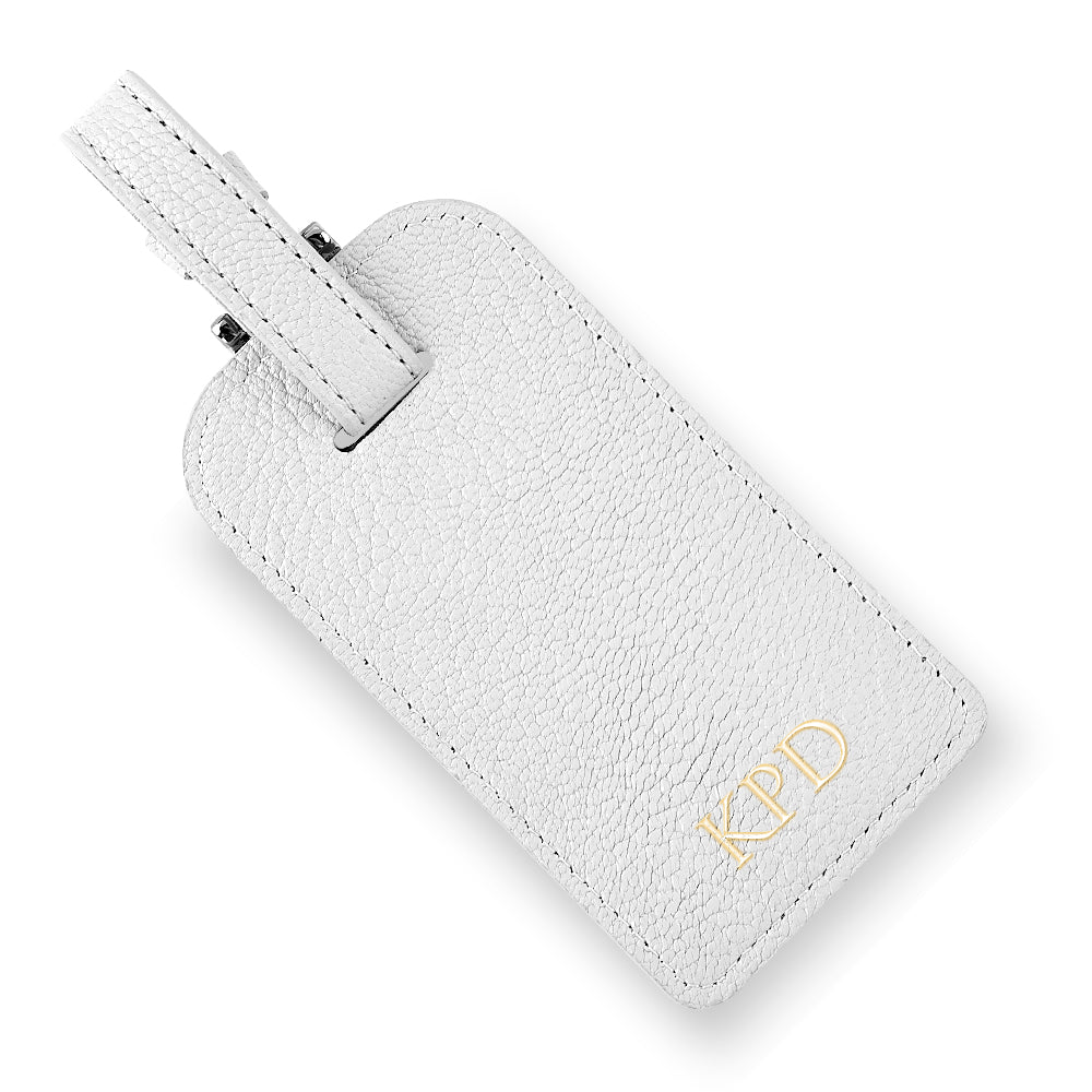 White Leather Luggage Tag