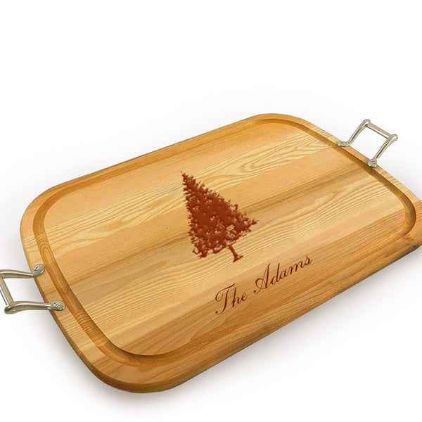 Fir Tree Wooden Artisan Tray with Handles