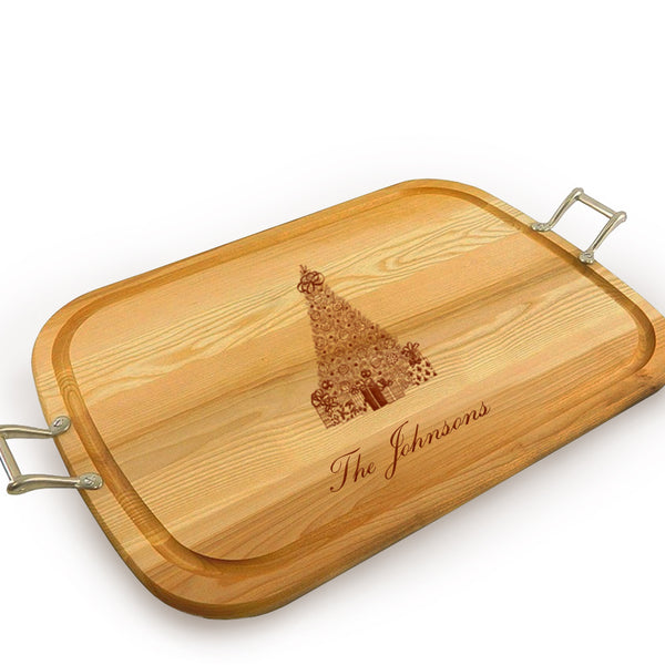 Christmas Tree Wooden Artisan Tray with Handles