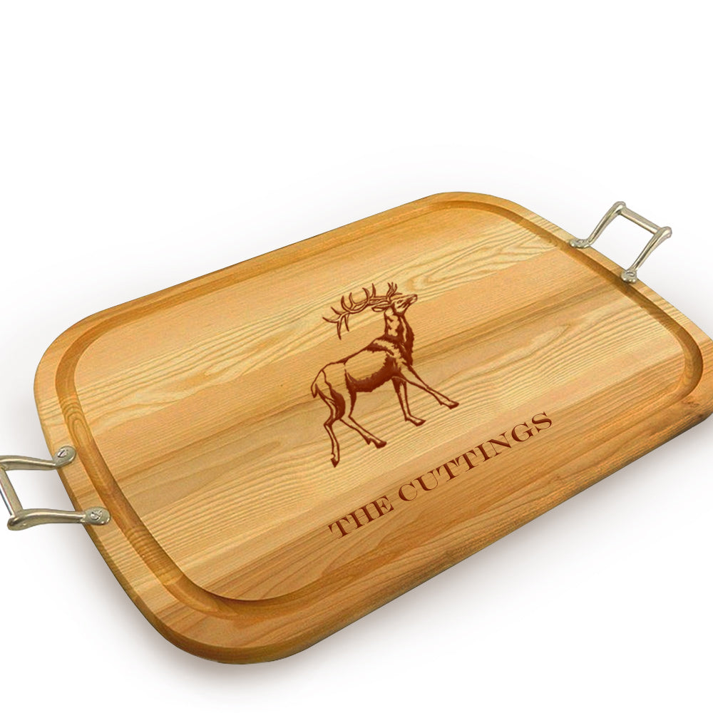 Stag Wooden Artisan Tray with Handles