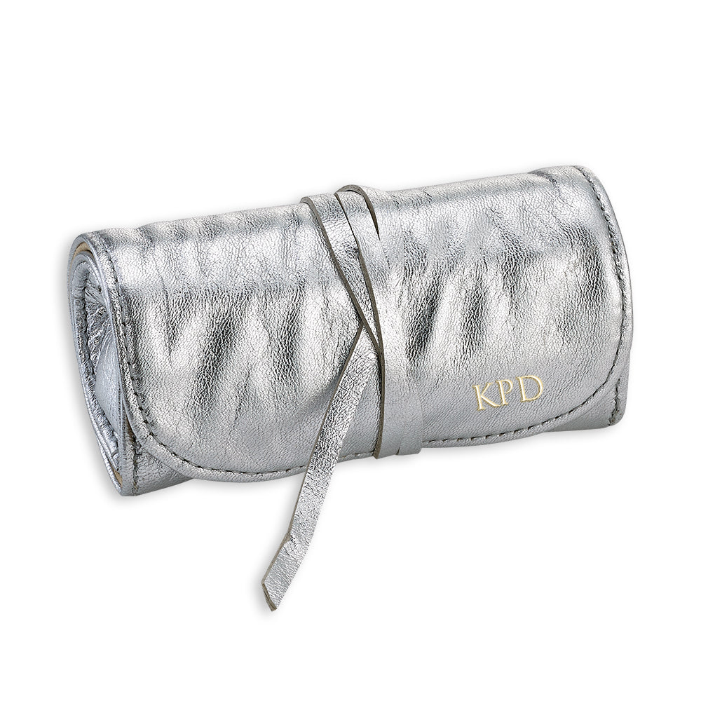 Silver Leather Jewelry Roll