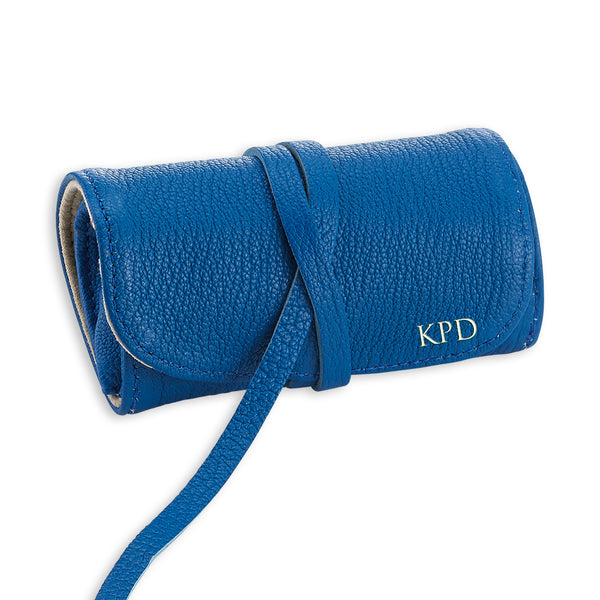 Blue Leather Jewelry Roll