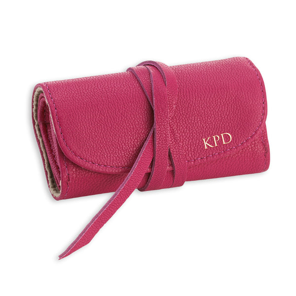 Pink Leather Jewelry Roll